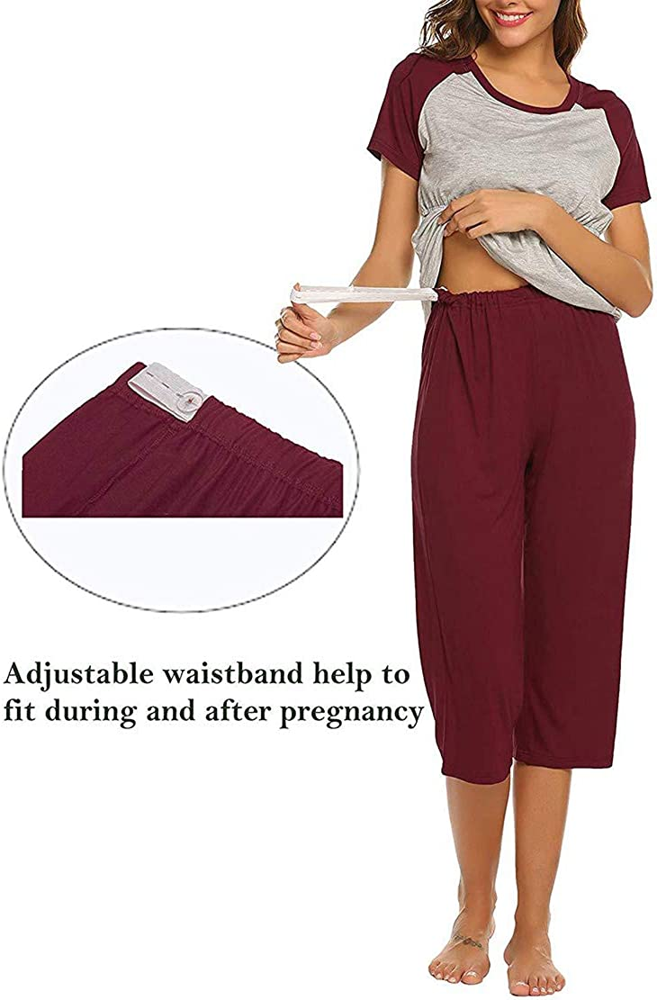 Maternity Pyjamas for Women Hospital Sleepsuits Nursing Pajama Set Nightwear Pregnancy Clothes Summer Sleepwear Breastfeeding Shirt and Shorts Pjs Two Pieces