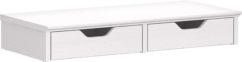 Bush Furniture Key West Desktop Organizer with Drawers, 27W x 12.5D x 4H, Pure White Oak