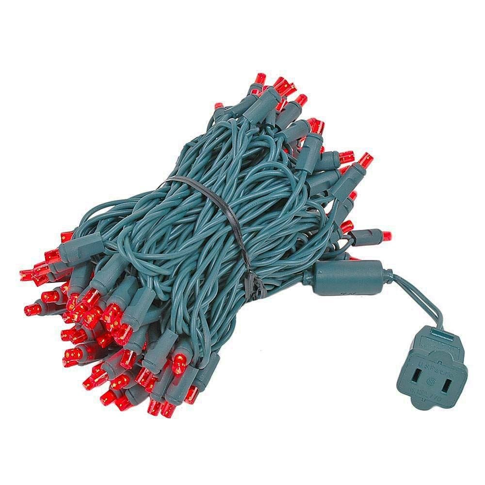 Novelty Lights 100 Light LED Christmas Mini Light Set, Outdoor Lighting Party Patio String Lights, Red, Green Wire, 34 Feet