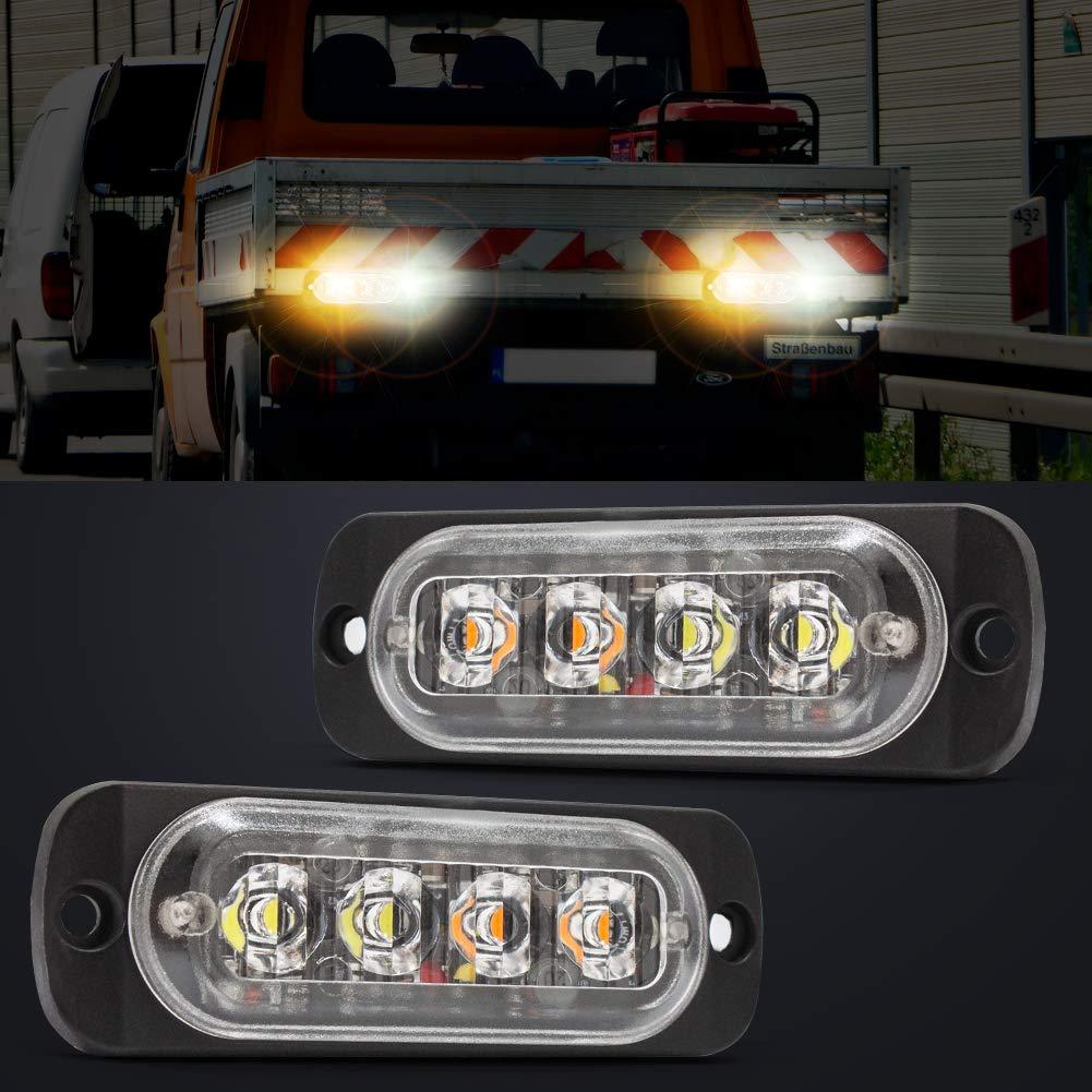 Pack of 4 Emergency Hazard Strobe Light,YuanGu 4 LED Warning Flashing Light Side Warning Light Universal for 12-24V Car Vehicle Truck Trailer Caravan Camper Van White /& Amber