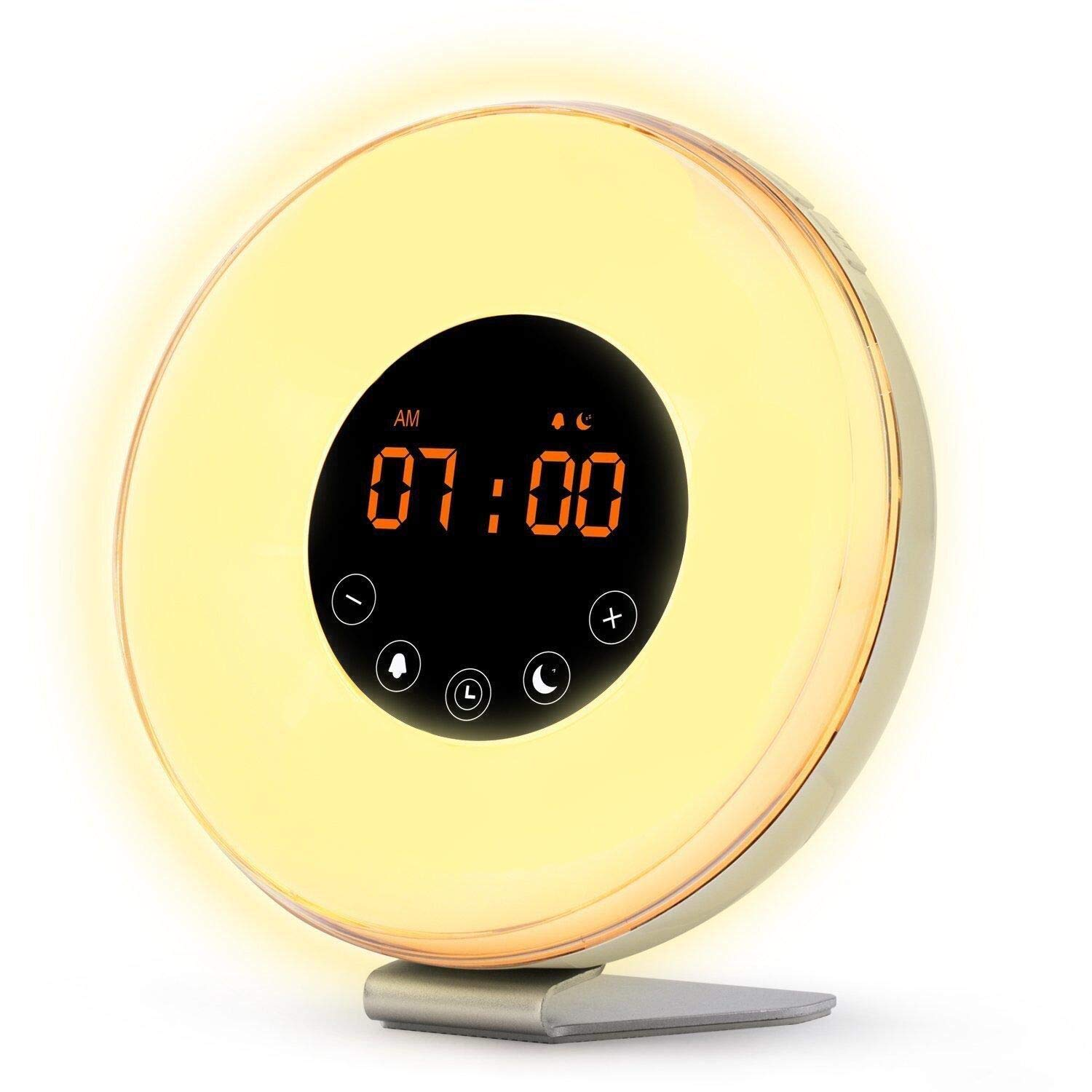 Aipker Wake Up Light, Sunrise Alarm Clock with FM Radio Snooze Function 7 Colors LED Bedside Lamp Night Light Nature Sounds for Heavy Sleeper Children Kids product image