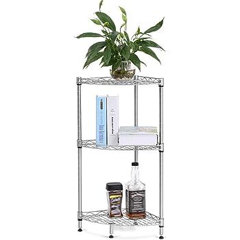 Amazon.com: LANGRIA 3-Tire Corner Wire Shelf Bathroom Corner Shelf ...