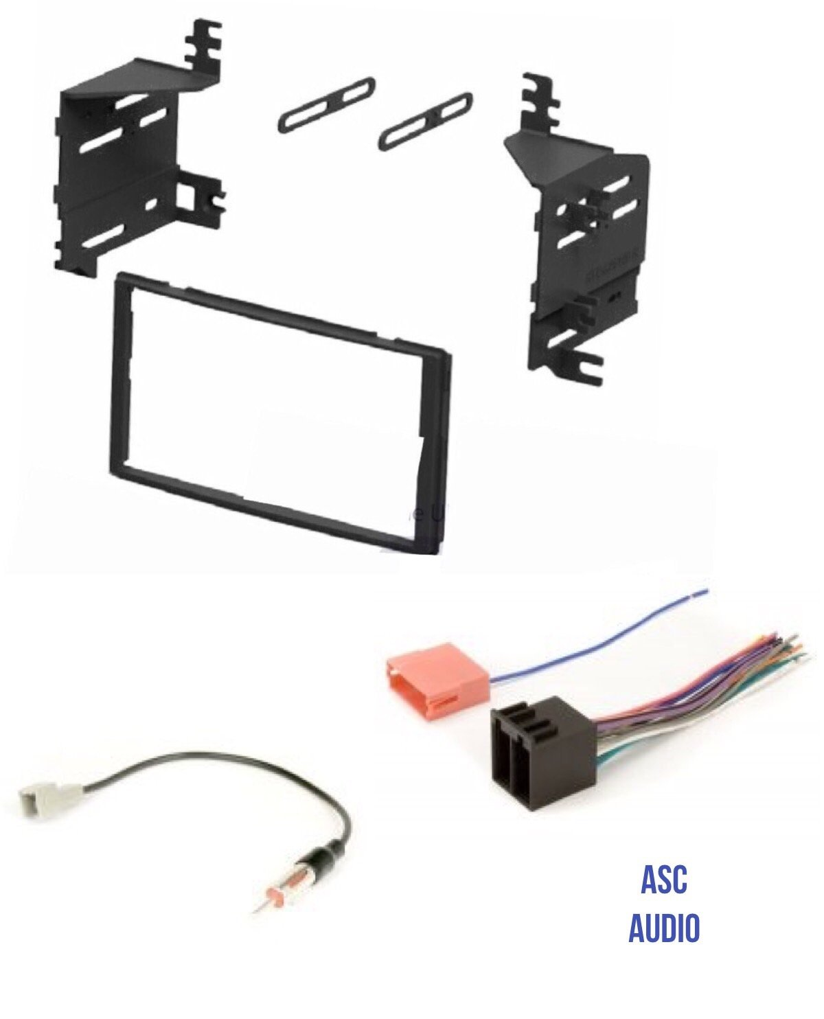 ASC Car Stereo Radio Install Dash Kit, Wire Harness, and Antenna Adapter for installing an Aftermarket Double Din Radio for 2009 2010 2011 2012 Hyundai Santa Fe without Factory Navigation Other