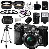 Sony a6000 ILCE6000LB ILCE-6000L/B ILCE6000 Alpha a6000 24.3 Interchangeable Lens Camera with 16-50mm Lens + 32GB Bundle 20 PC Accessory Kit (Black)