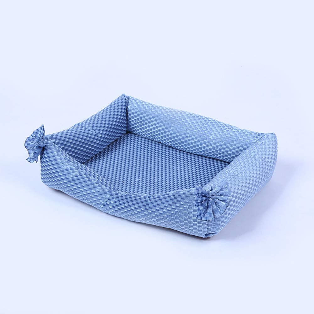 62x52x12cm WALSITK Exquisite four seasons with removable and washable kennel fashion pet supplies creative lace square pet mat light bluee 62x52x12cm