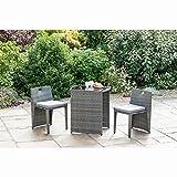 SORRENTO Rattan Effect Compact Square Bistro Set 3 pcs Garden Furniture