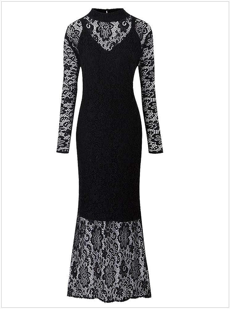 5ea1b48a72 Sensfun Black Lace Dresses Long Bodycon High Neck Floor Length Dresses  Solid Hollow Out Lace Floral Dress for Women Plus Size XXXXL at Amazon  Women's ...