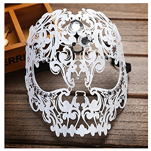 WCHUANG New Unisex All Metal Skull Mask Laser Cut Venetian Halloween Masquerade Mask
