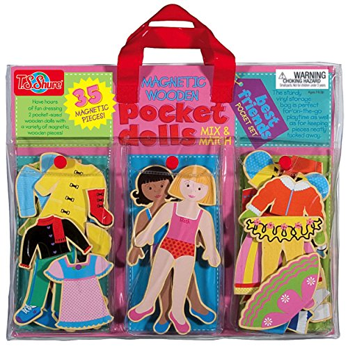T.S. Shure Pocket Dolls Best Friends Wooden Magnetic Dress-Up Dolls