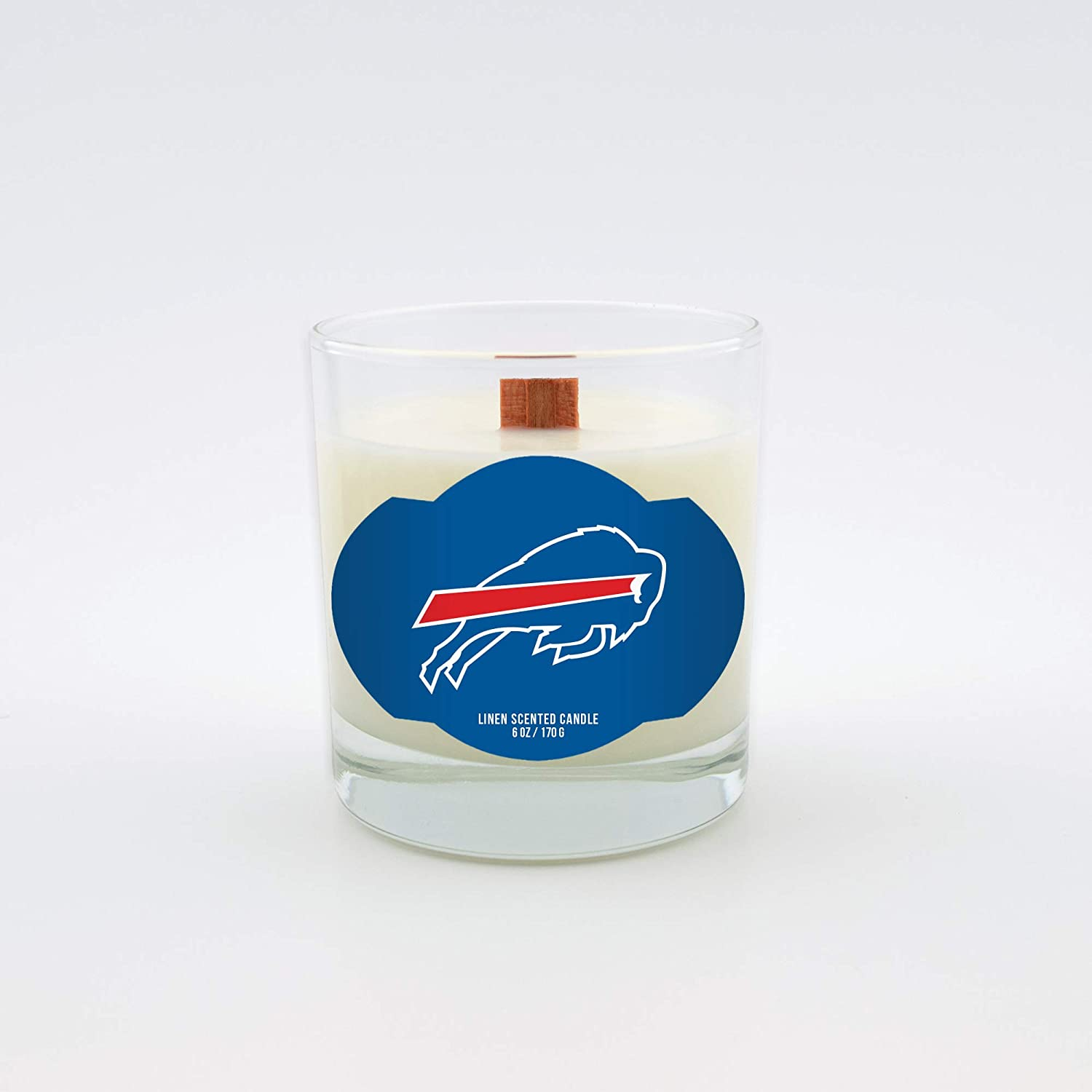 Worthy Promotional NFL Buffalo Bills Linen Scented 6 oz Soy Wax Candle Wood Wick