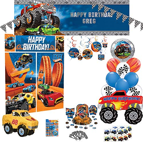 Birthday Party Set :: Ya Otta Monster Truck Pinata bundled with Hotwheels Birthday Party Supplies and an eBook with Kids Birthday Party Games -