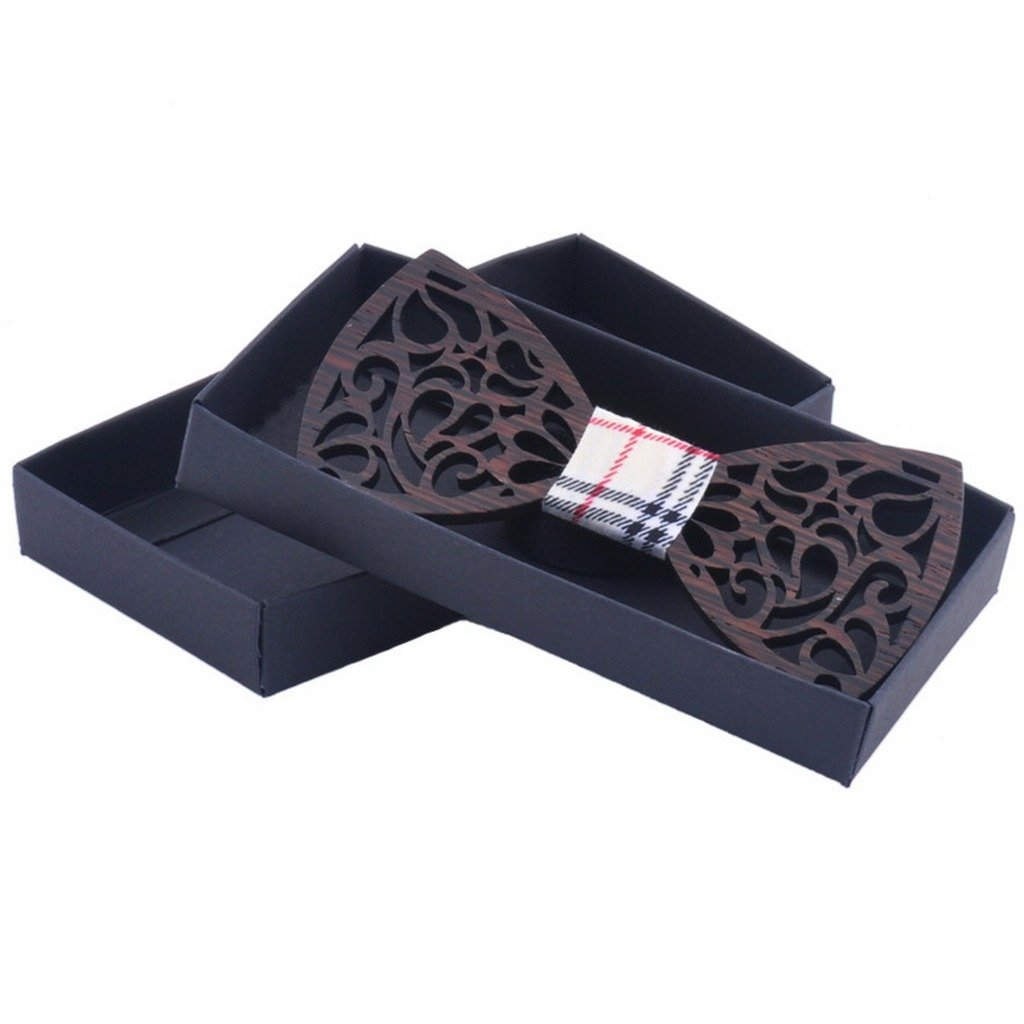 Ukerdo Handmade Bowtie Hollow Paragraph Wooden Pre-Tied Men's Wood Bow Tie (B) WoodBowtie-057