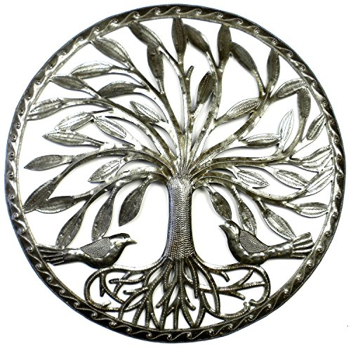 Global Crafts Tree of Life with Two Birds - 23 inch Metal Wall Art - Indoor or Outdoor Wall Art by Global Crafts