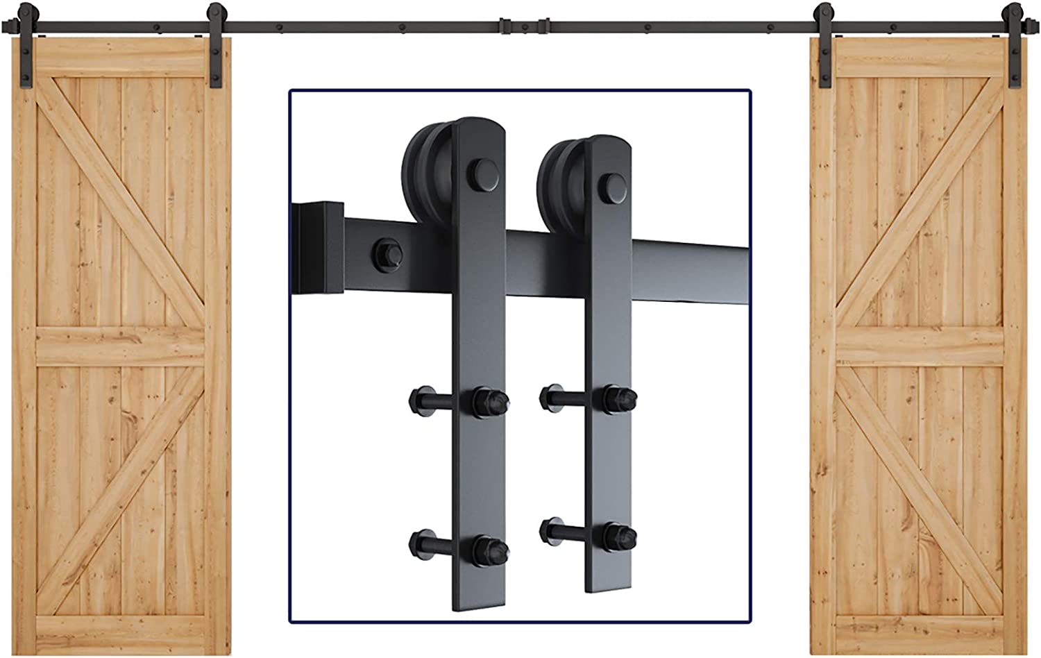 """SMARTSTANDARD 12ft Heavy Duty Double Door Sliding Barn Door Hardware Kit -Smoothly and Quietly -Easy to Install -Includes Step-by-Step Installation Instruction -Fit 30""""- 36"""" Wide Doors Panel (I Shape)"""
