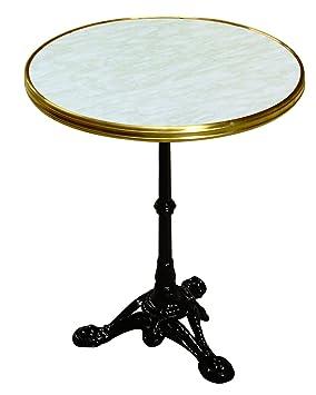 Table Guéridon Bistrot Paris Rd60cm Marbre de Genes Cerclé Laiton ...