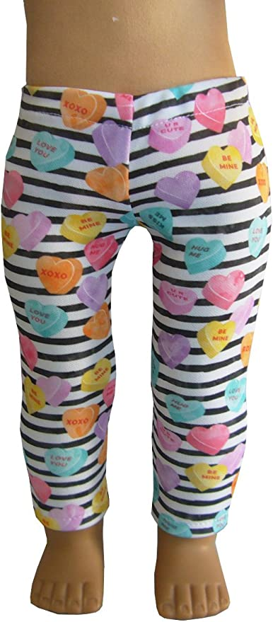"""EXCLUSIVE Conversation Hearts Leggings fits 18/"""" American Girl Doll Clothes"""