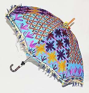 UML02011 trabajo paraguas con flecos bordado diseño de pantalones de deporte para mujer algodón 61 x 71 cm