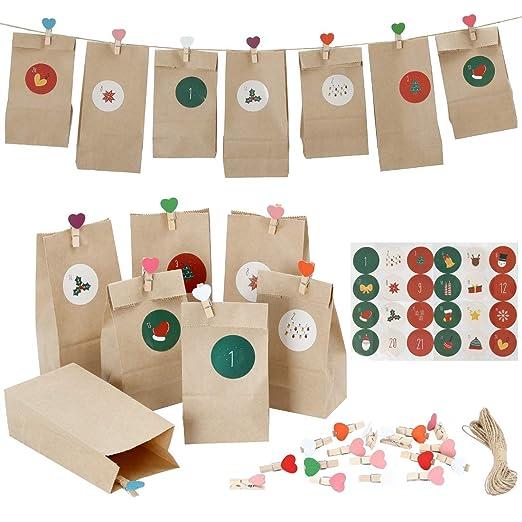 Evance Bolsas de Regalo Navidad, con 24 Bolsas de Regalo ...