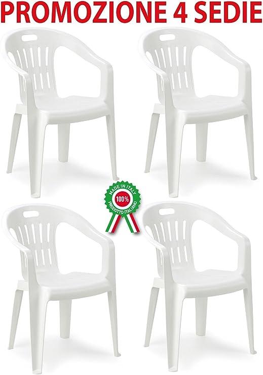 Savino Filippo 4 Pz Poltrona sedia Piona in dura resina di plastica bianca impilabile con braccioli per casa giardino bar sagra campeggio