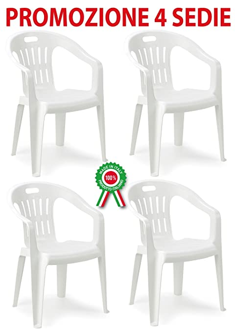 Sedie Di Plastica Bianche.4 Pz Poltrona Sedia Piona In Dura Resina Di Plastica Bianca Impilabile Con Braccioli