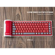 LinDon-Tech Pretty Portable Flexible Wireless Waterproof Washable Silicone Roll-up Bluetooth Keyboard for Tablet, Smartphone, Laptop, Built-in Rechargeable Lithium Battery (red)
