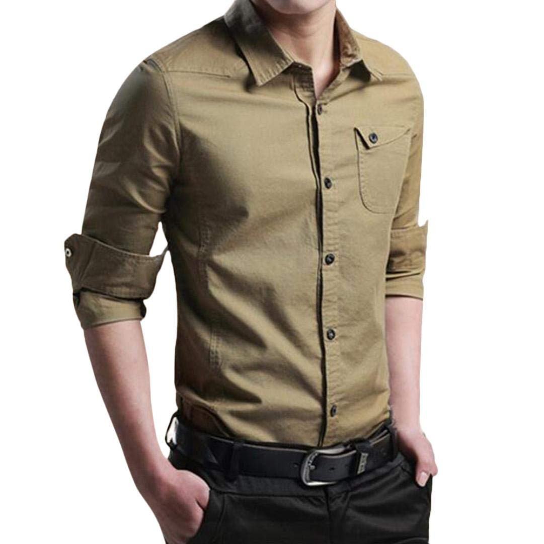 Dragon868 Herren Langarm Hemd Slim Fit, Military Cargo schlanke Taste Lange Ä rmel Dress Shirt