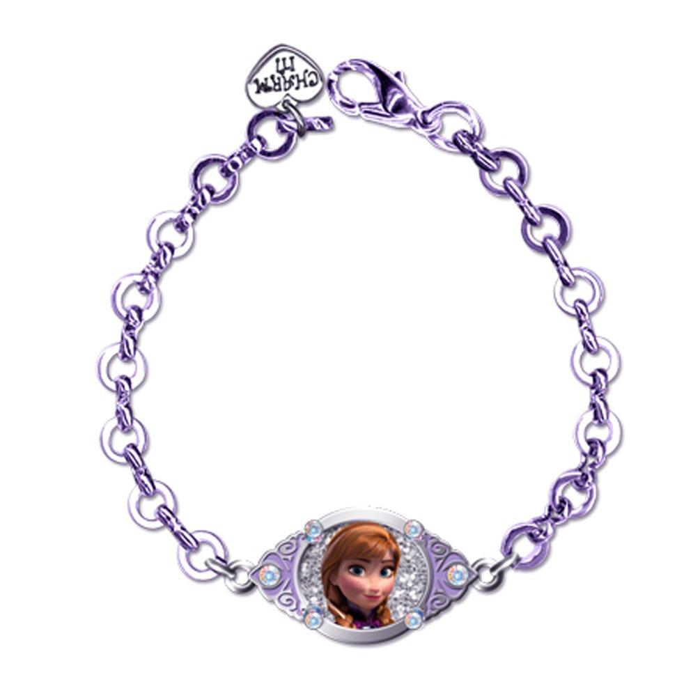 CHARM IT Disney Frozen Anna Portrait Lavendar Link Bracelet