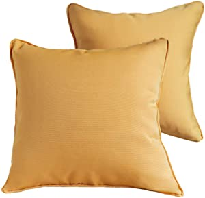 Vanteriam 2 Pack Decorative Outdoor Solid Waterproof Throw Pillow Cover with Piping, Accent Pillow case for Outdoor Patio Furniture Set, Square 18''x18'' Goldenrod