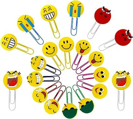 per bambini YLX Simpatici Segnalibri a forma di emoticon ragazze 10 pezzi casuali divertenti segnalibro scuola ragazzi