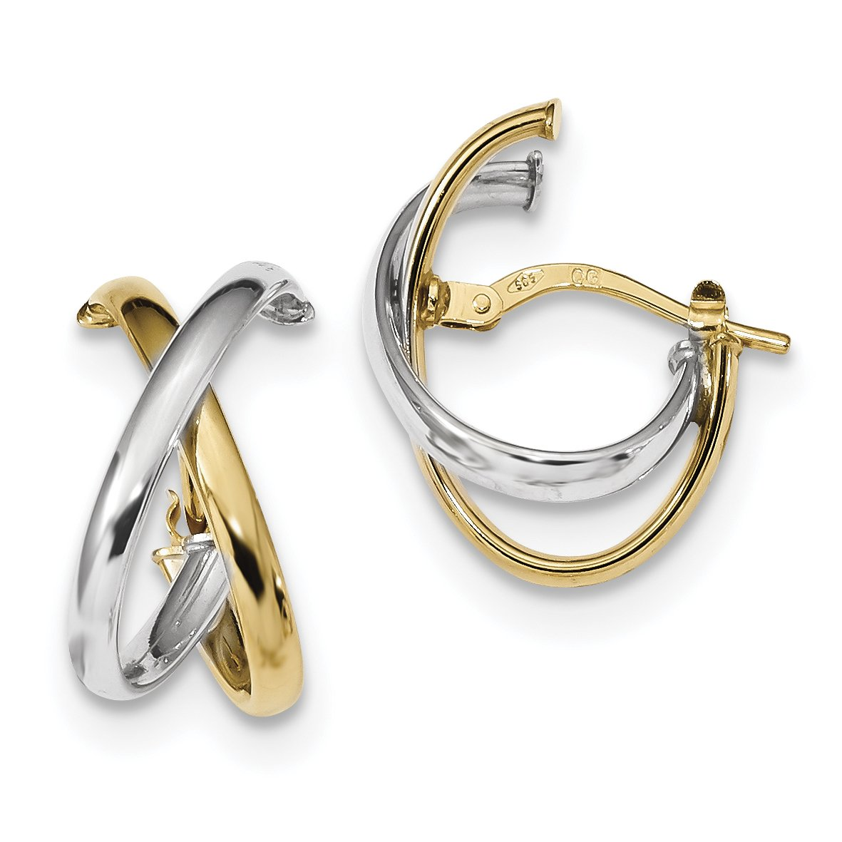 ICE CARATS 14k Two Tone Yellow Gold Hoops Hoop Fine Jewelry Gift Set For Women Heart