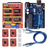 Kuman Arduino CNC Shield Expansion Board V3.0 +UNO R3 Board + A4988 Stepper Motor Driver With Heatsink for Arduino Kits GRBL Compatible K75