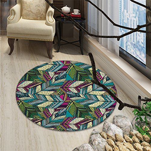 Abstract Round Area Rug Exotic Feather Pattern Colorful Design Ethnic Motifs Dots and Swirls QuillsOriental Floor and Carpets Teal Purple Cream