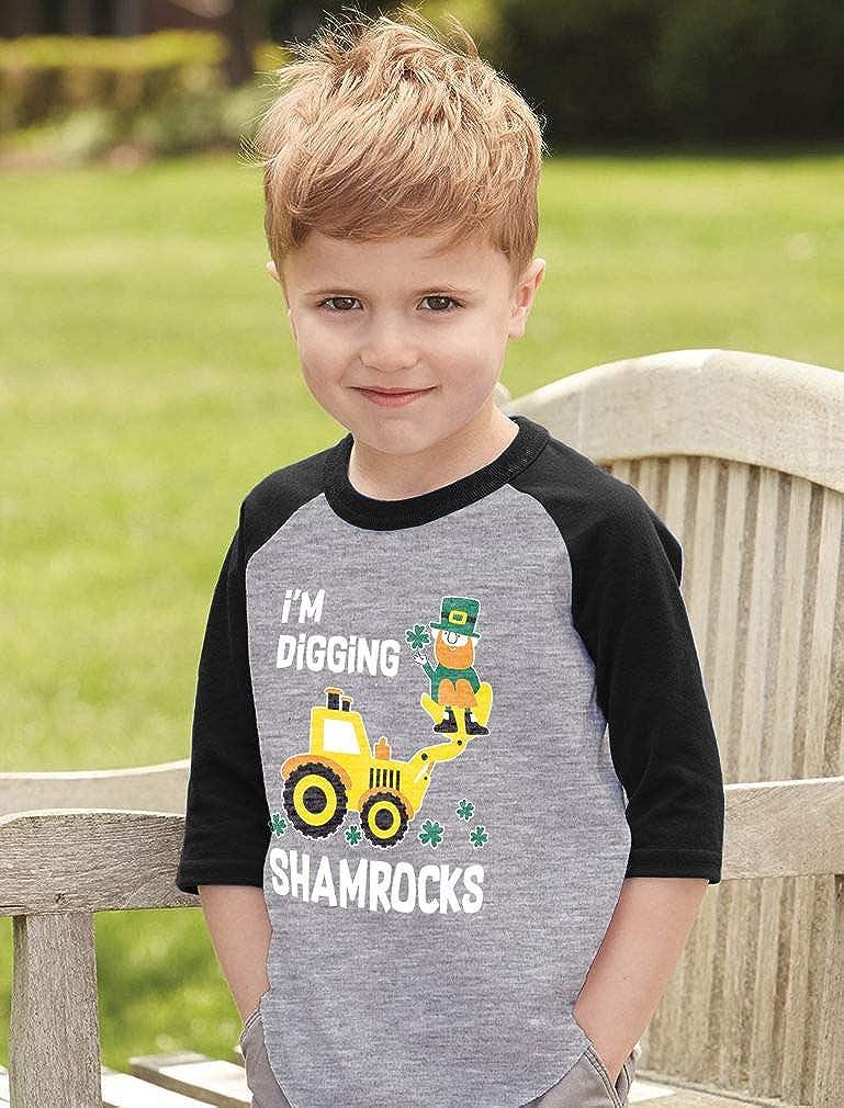 Patricks 3//4 Sleeve Baseball Jersey Toddler Shirt Im Digging Shamrocks St