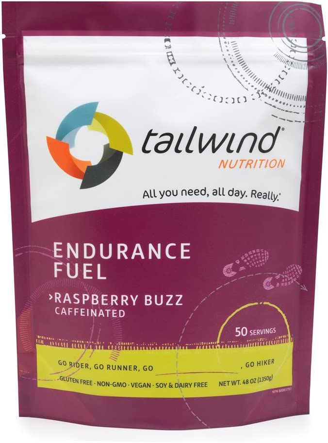 Tailwind Nutrition Caffeinated Raspberry Buzz Endurance Fuel 50 Serving - Hydration Drink Mix with Electrolytes, Carbohydrates - Non-GMO, Gluten-Free, Vegan, No Soy or Dairy: Health & Personal Care