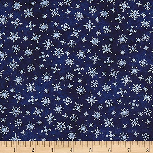 Maywood Studio Roly-Poly Snowmen Stitched Snowflakes Deep Navy, Fabric by the Yard ()