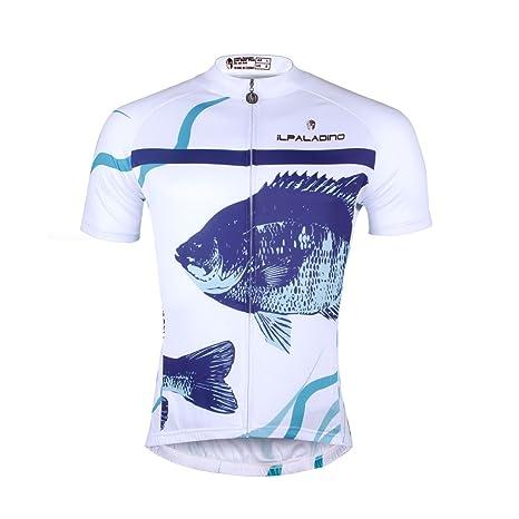 Ilpaladino Men s White Cycling Shirts Short Sleeve Fish Pattern Bike Jerseys  Size XXS 0ba164ebe