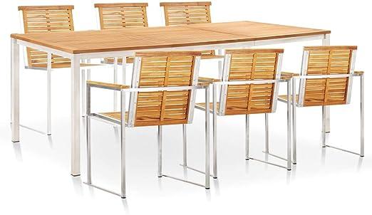 vidaXL - Muebles de jardín de teca maciza, 7 piezas Juego de mesa y sillas de jardín de acero inoxidable: Amazon.es: Hogar