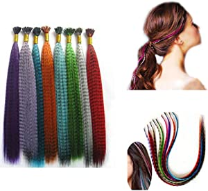 Mixed color Synthetic Feather Hair Extension Kit Multi Mixed color 50 Micro Beads & hook Tool kits-18pcs