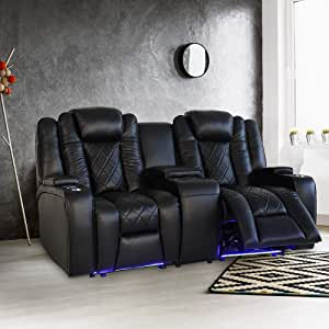 Valencia Oxford Home Theater Seating | 11000 Top Grain Black Leather, Power Recliner, with Center Console (Row of 2)