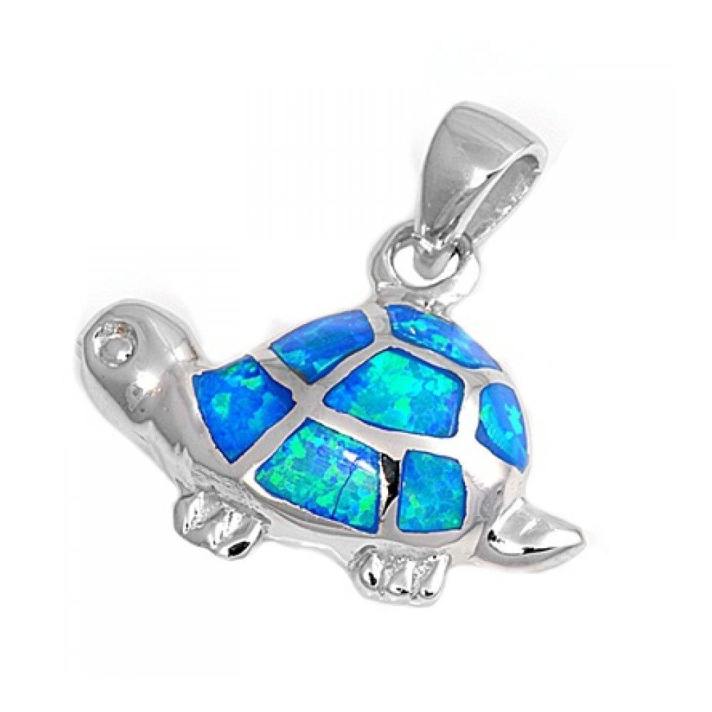 Pendentif en argent fin à Opale synthétique - Tortue Pendentif en argent fin à Opale synthétique - Tortue Royal Design PL350063-SI