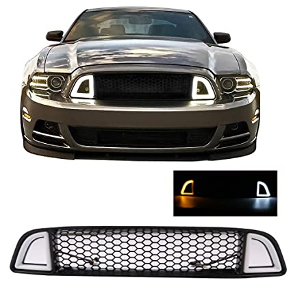 2013 Mustang Front Bumper >> Grille Fits 2013 2014 Ford Mustang Non Shelby Trims Black Front Bumper Grill Hood Mesh By Ikon Motorsports