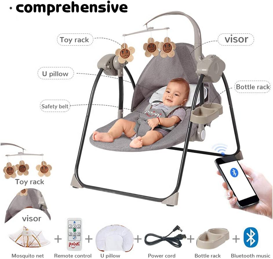 LYXCM Baby Swing Chair Portable Electric Rocking Chair 5 Swing Modes Protect The Spine Suitable for Babies 0-6 Years Old