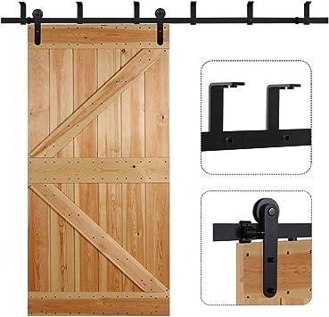 CCJH - Soporte de techo de acero para puerta corredera de barniz, kit de accesorios de madera de estilo I (8FT, para puerta individual): Amazon.es: Bricolaje y herramientas