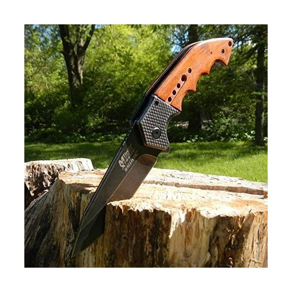 """New 9"""" Spring Assisted Open Tactical Blade Folding Pocket Eco'Gift Limited Edition Knife with Sharp Blade Wood Steampunk 4"""