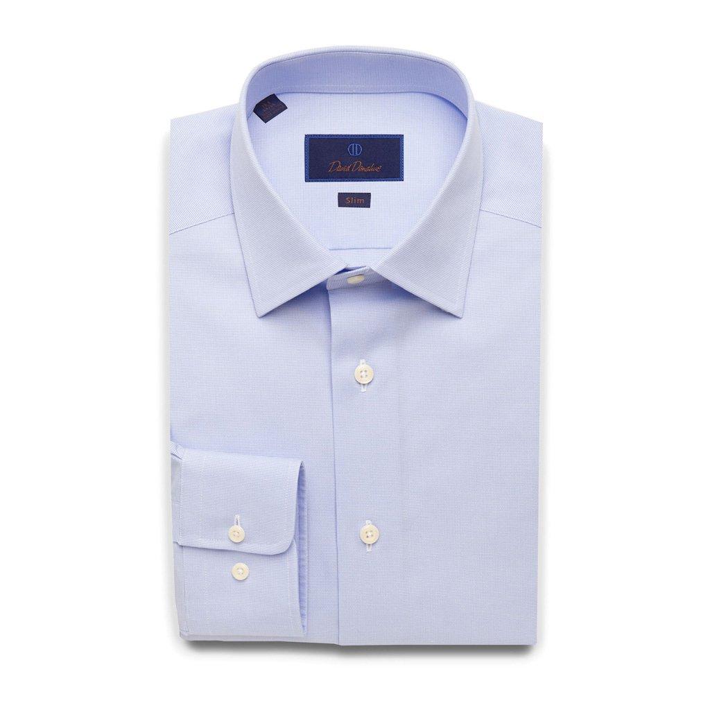 David Donahue Slim Fit Micro Dobby Weave Dress Shirt 17'' Neck 32/33'' Sleeve Sky Blue