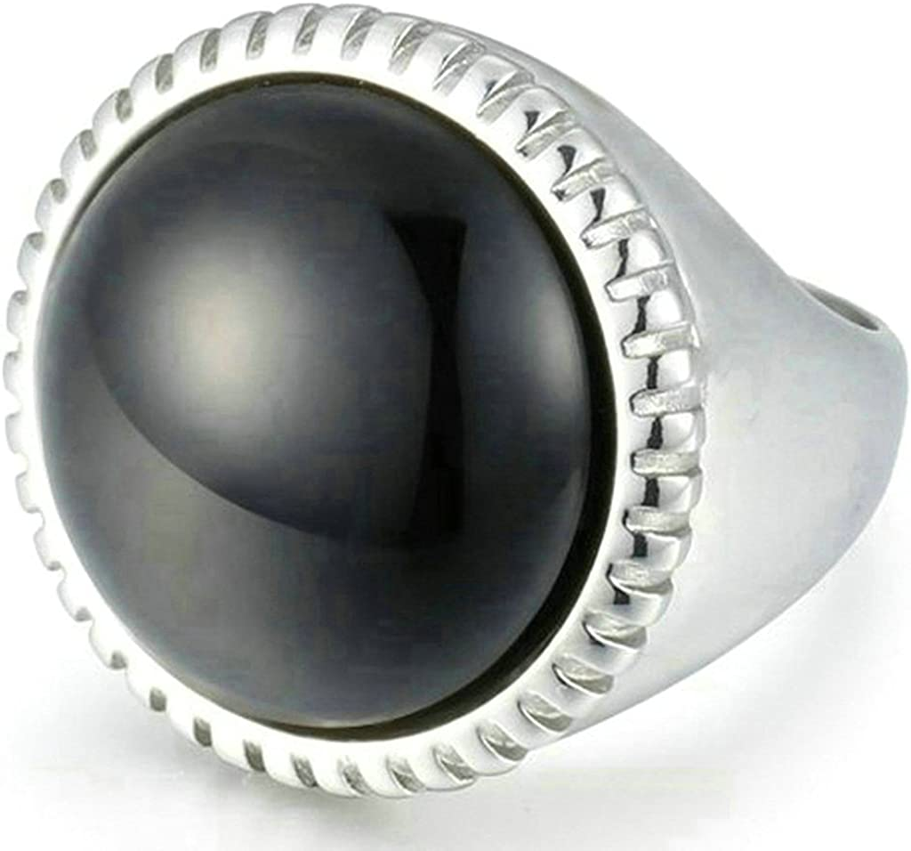 Aooaz Stainless Steel Ring For Men Exaggerated Round Black Stone Silver Retro Wedding Band Promise Ring