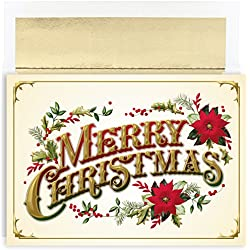 Masterpiece Studios Holiday Collection Boxed Merry Christmas Cards, Vintage, 16 Cards/16 Foil-Lined Envelopes
