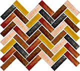 Susan Jablon Mosaics - Gold Fire Herringbone Mosaic Blend Design