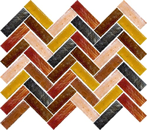 Susan Jablon Mosaics - Gold Fire Herringbone Mosaic Blend Design by Susan Jablon Mosaics