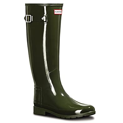 Hunter Womens Original Refined Gloss Rain Boots Dark Olive 5